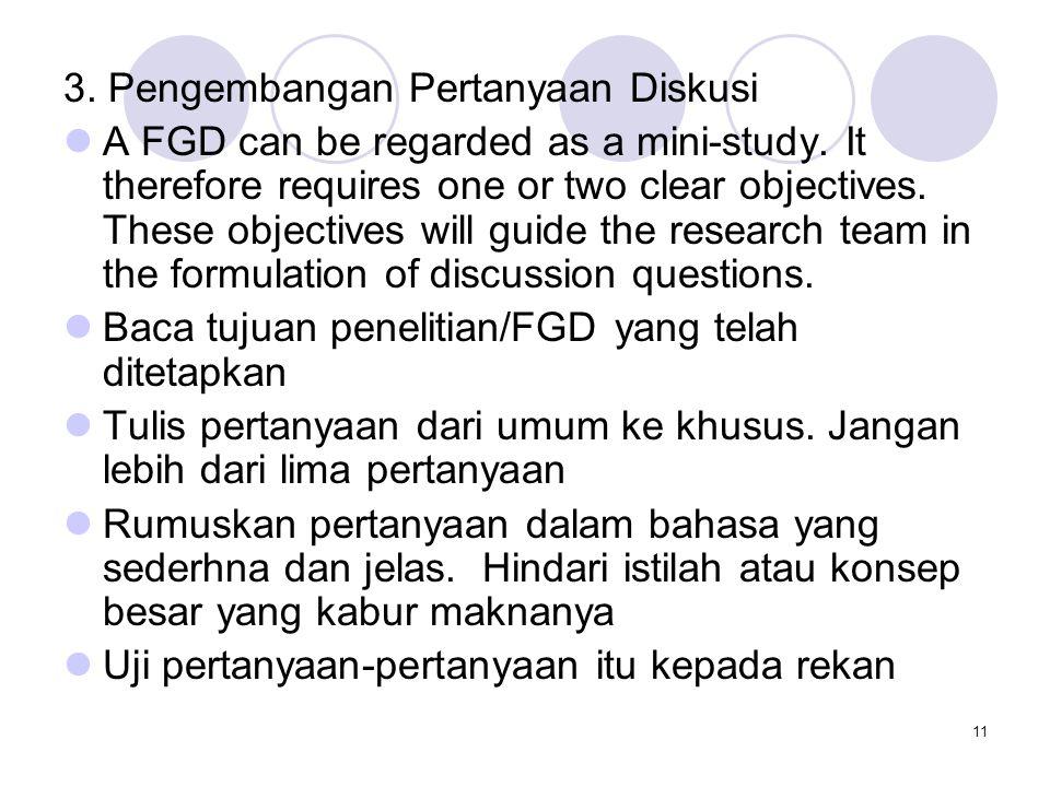 3. Pengembangan Pertanyaan Diskusi