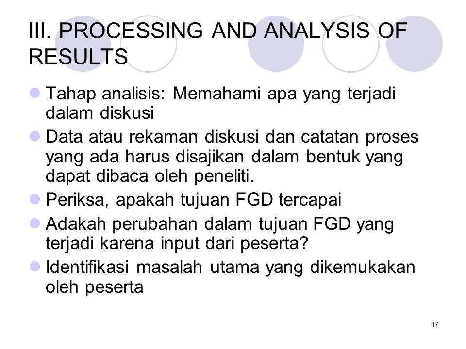 III. PROCESSING AND ANALYSIS OF RESULTS