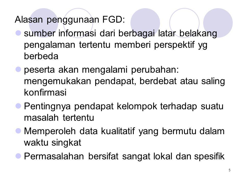 Alasan penggunaan FGD: