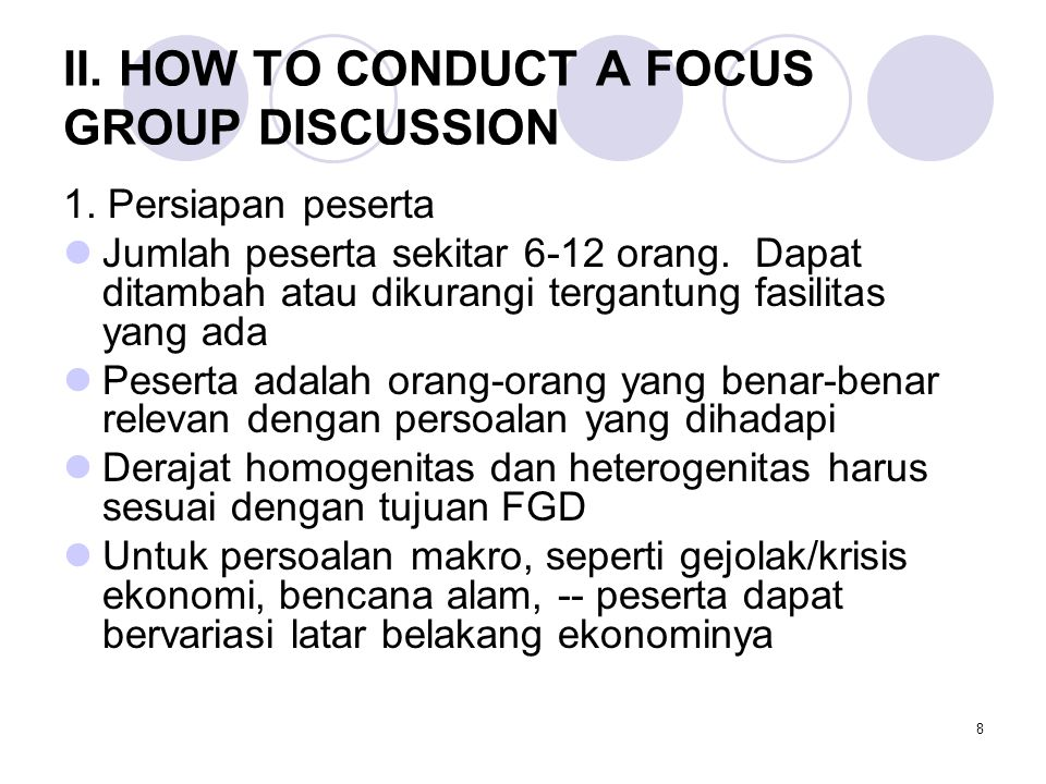 II. HOW TO CONDUCT A FOCUS GROUP DISCUSSION