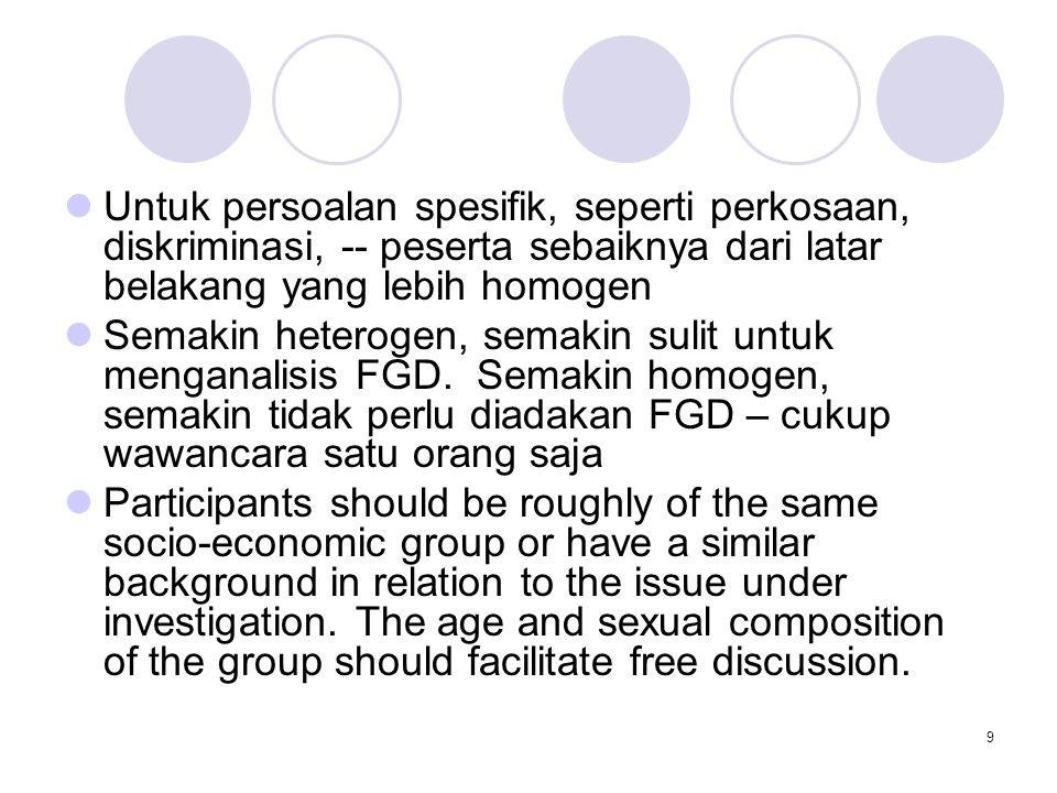 Untuk persoalan spesifik, seperti perkosaan, diskriminasi, -- peserta sebaiknya dari latar belakang yang lebih homogen