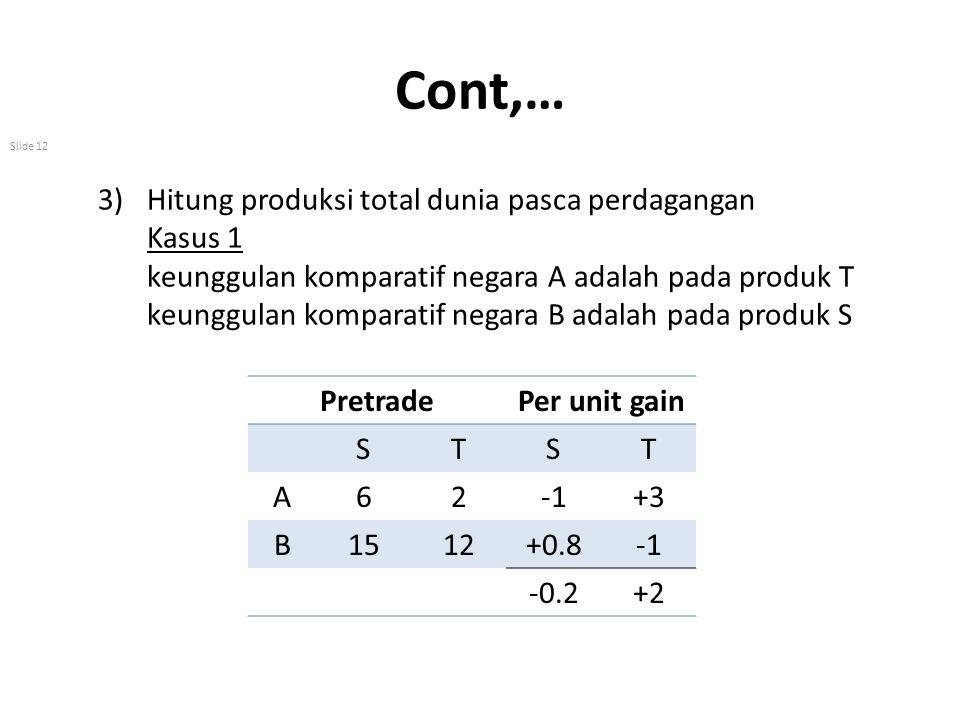 Cont,… Hitung produksi total dunia pasca perdagangan Kasus 1