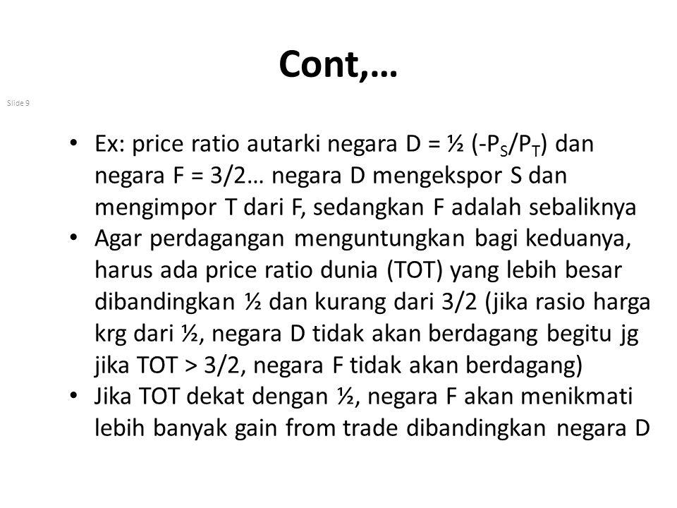 Cont,… Ex: price ratio autarki negara D = ½ (-PS/PT) dan negara F = 3/2… negara D mengekspor S dan mengimpor T dari F, sedangkan F adalah sebaliknya.