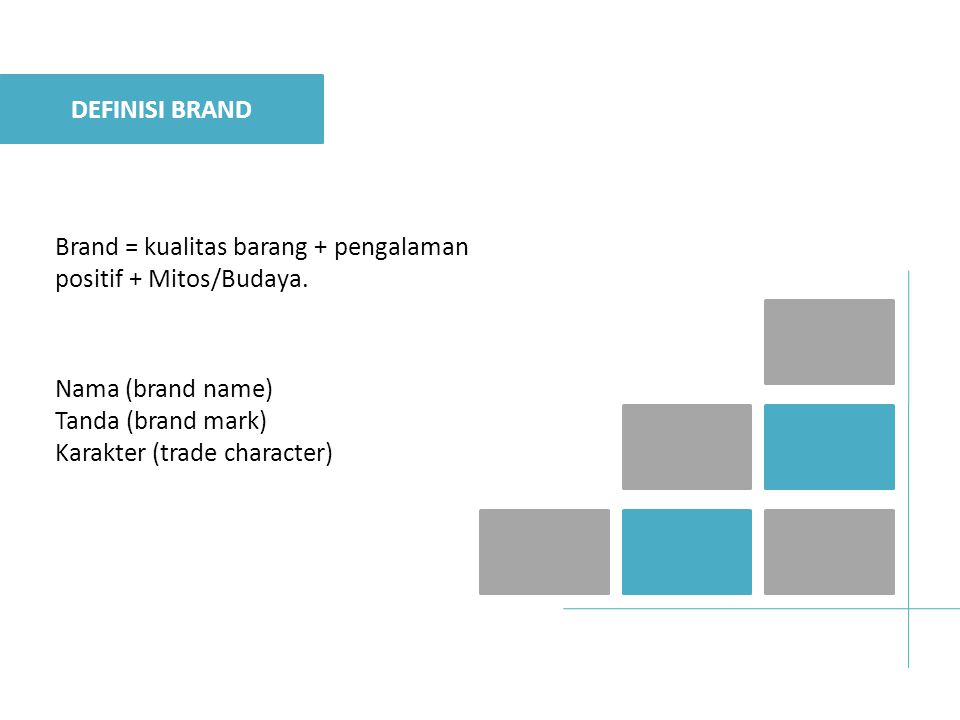 DEFINISI BRAND Brand = kualitas barang + pengalaman positif + Mitos/Budaya. Nama (brand name) Tanda (brand mark)