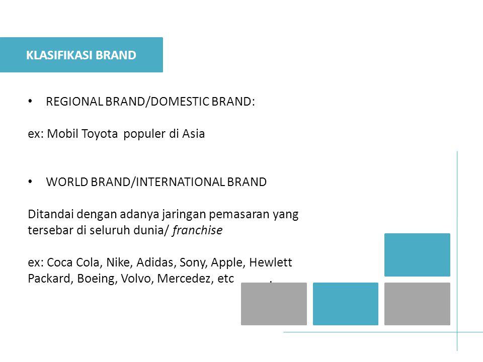 KLASIFIKASI BRAND REGIONAL BRAND/DOMESTIC BRAND: ex: Mobil Toyota populer di Asia. WORLD BRAND/INTERNATIONAL BRAND.