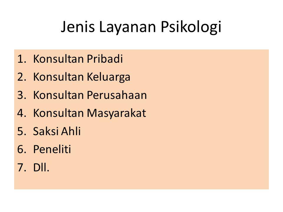 Jenis Layanan Psikologi