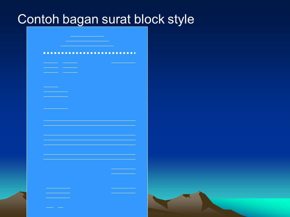 Contoh bagan surat block style