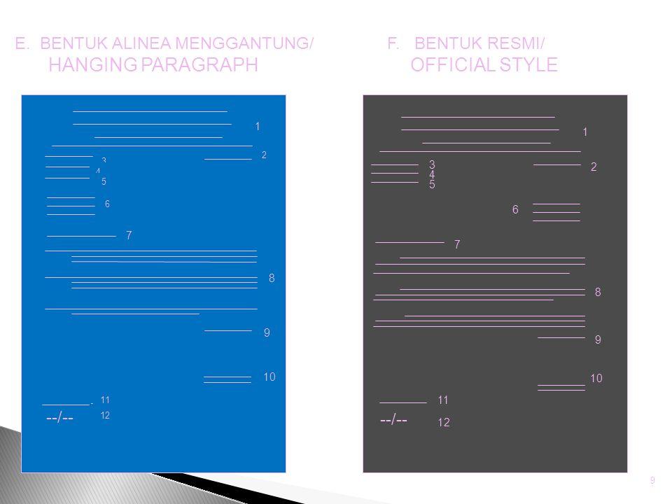 E. BENTUK ALINEA MENGGANTUNG/ HANGING PARAGRAPH F. BENTUK RESMI/