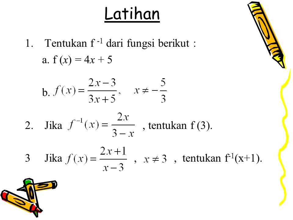 Latihan Tentukan f -1 dari fungsi berikut : a. f (x) = 4x + 5 b.