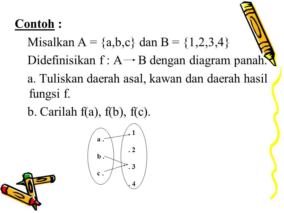Misalkan A = {a,b,c} dan B = {1,2,3,4}