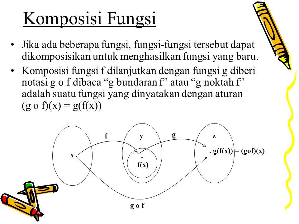 Komposisi Fungsi Jika ada beberapa fungsi, fungsi-fungsi tersebut dapat dikomposisikan untuk menghasilkan fungsi yang baru.