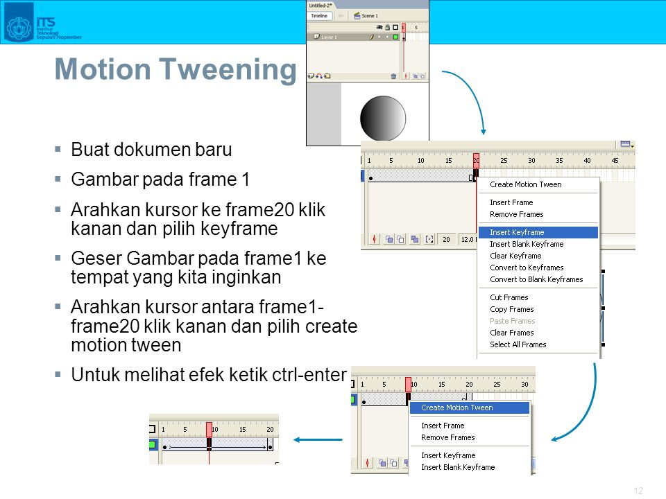 Motion Tweening Buat dokumen baru Gambar pada frame 1