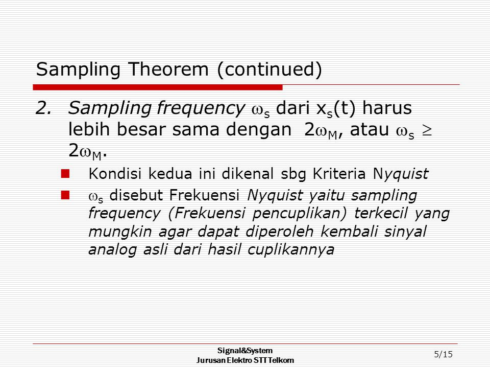 Sampling Theorem (continued)