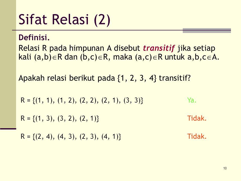 Sifat Relasi (2) Definisi.