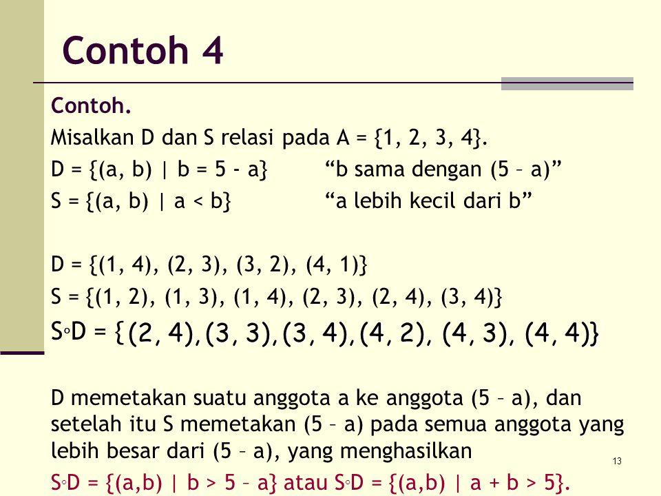 Contoh 4 SD = { (2, 4), (3, 3), (3, 4), (4, 2), (4, 3), (4, 4)}