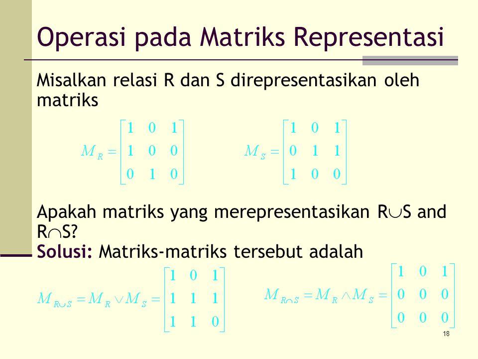 Operasi pada Matriks Representasi