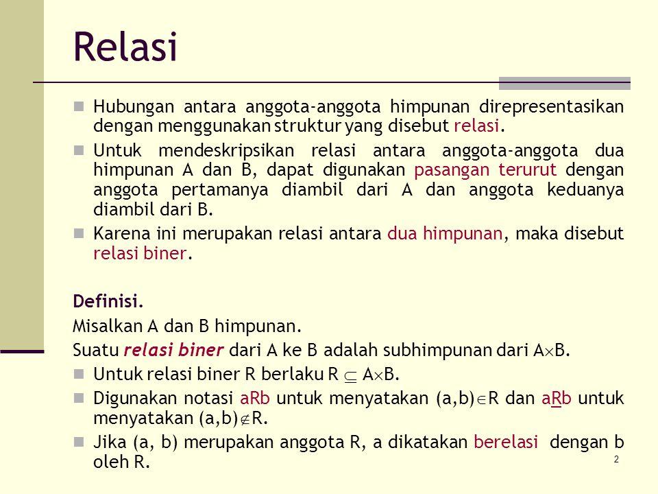 Relasi Hubungan antara anggota-anggota himpunan direpresentasikan dengan menggunakan struktur yang disebut relasi.