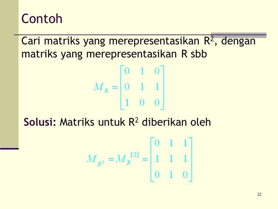 Contoh Cari matriks yang merepresentasikan R2, dengan matriks yang merepresentasikan R sbb.