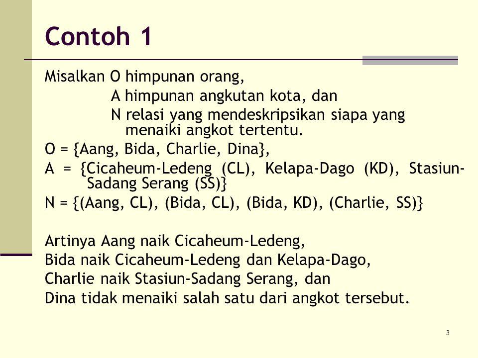 Contoh 1 Misalkan O himpunan orang, A himpunan angkutan kota, dan