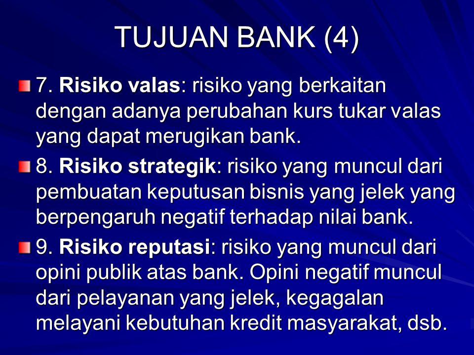 TUJUAN BANK (4) 7. Risiko valas: risiko yang berkaitan dengan adanya perubahan kurs tukar valas yang dapat merugikan bank.