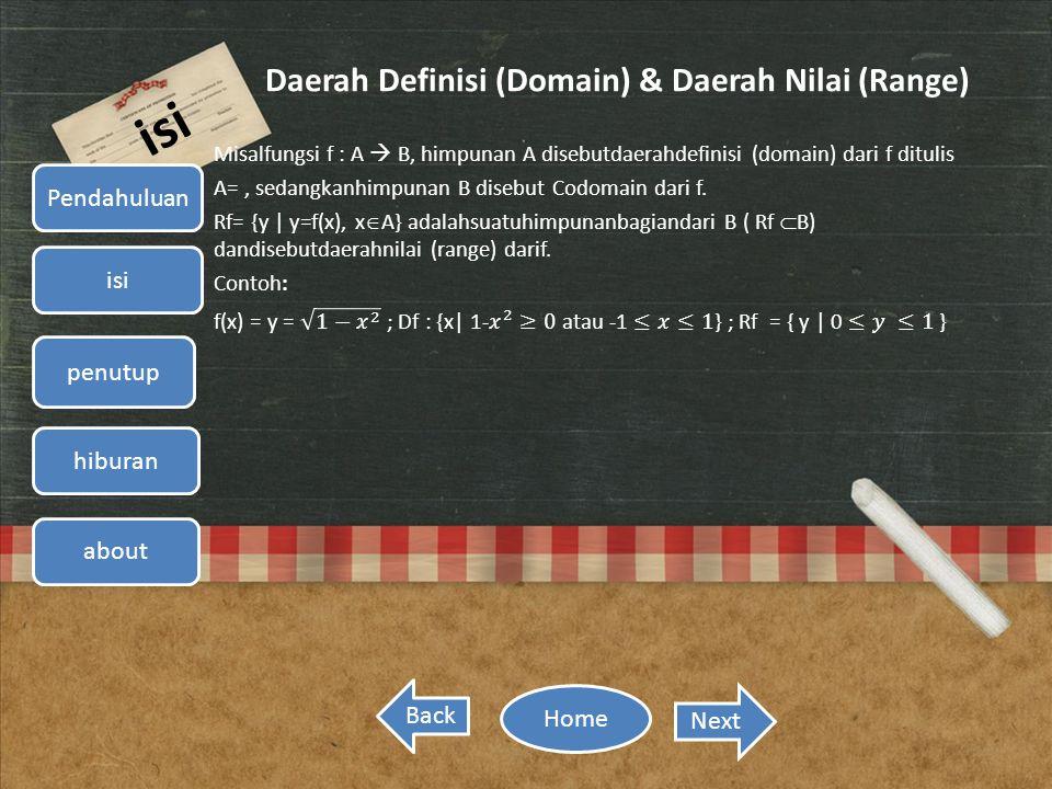 Daerah Definisi (Domain) & Daerah Nilai (Range)