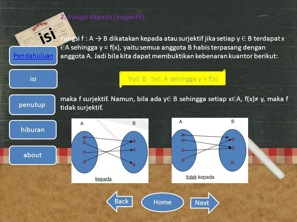 ∀y∈ B ∃x∈ A sehingga y = f(x)