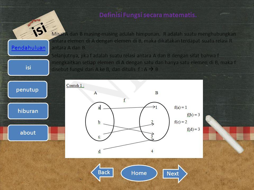 Definisi Fungsi secara matematis.