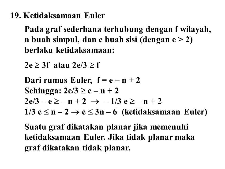 19. Ketidaksamaan Euler Pada graf sederhana terhubung dengan f wilayah, n buah simpul, dan e buah sisi (dengan e > 2) berlaku ketidaksamaan: