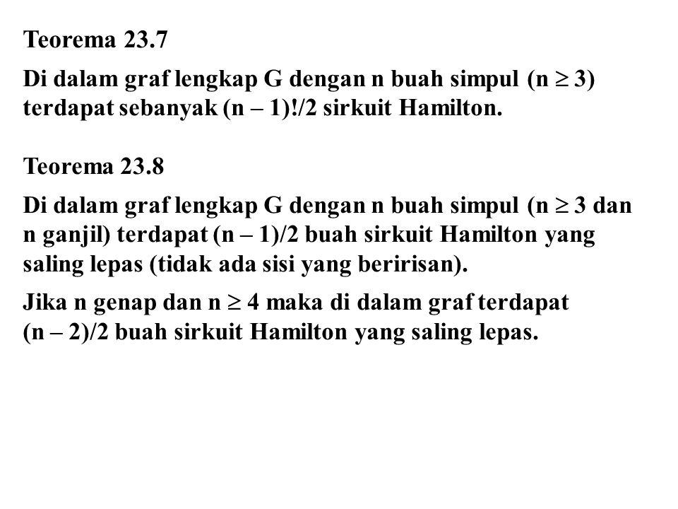 Teorema 23.7 Di dalam graf lengkap G dengan n buah simpul (n  3) terdapat sebanyak (n – 1)!/2 sirkuit Hamilton.