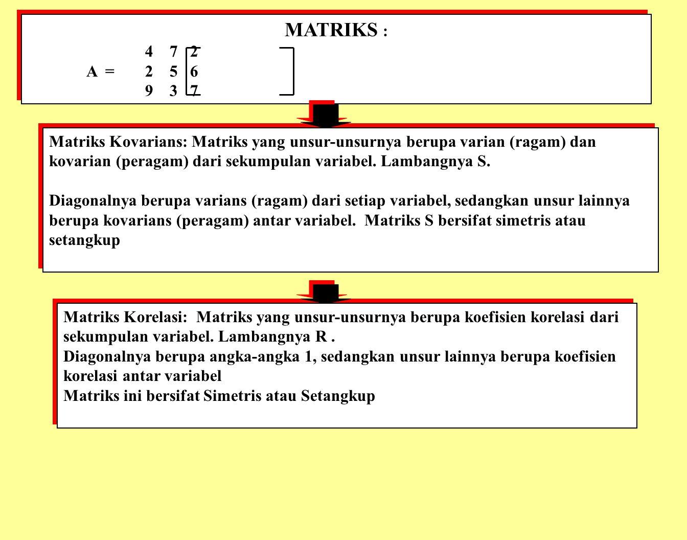 MATRIKS : 4 7 2. A = 2 5 6. 9 3 7.