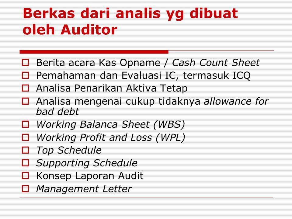 Berkas dari analis yg dibuat oleh Auditor