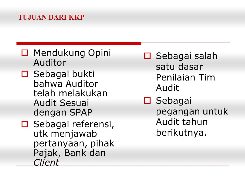 Mendukung Opini Auditor