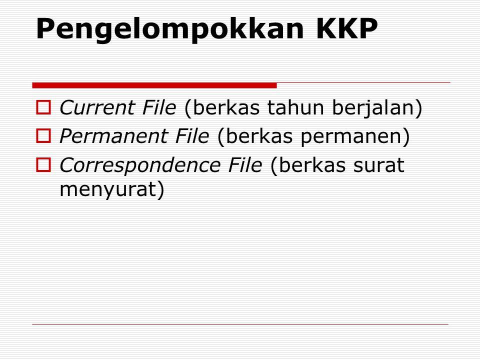 Pengelompokkan KKP Current File (berkas tahun berjalan)