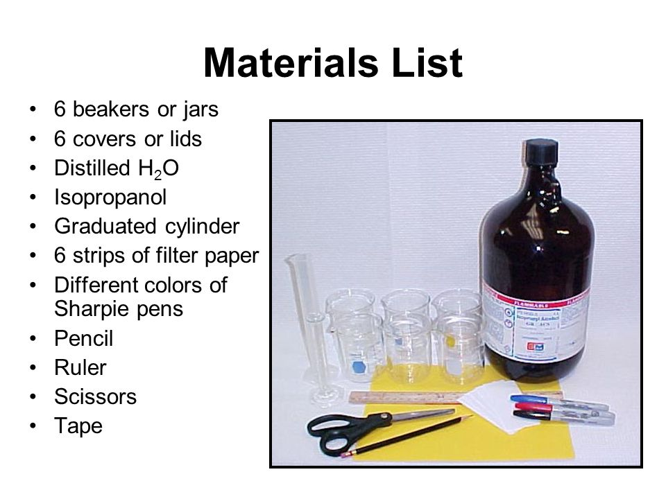 Materials List 6 beakers or jars 6 covers or lids Distilled H2O