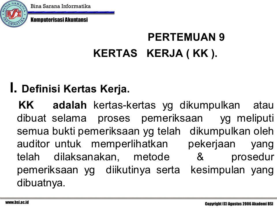 I. Definisi Kertas Kerja.
