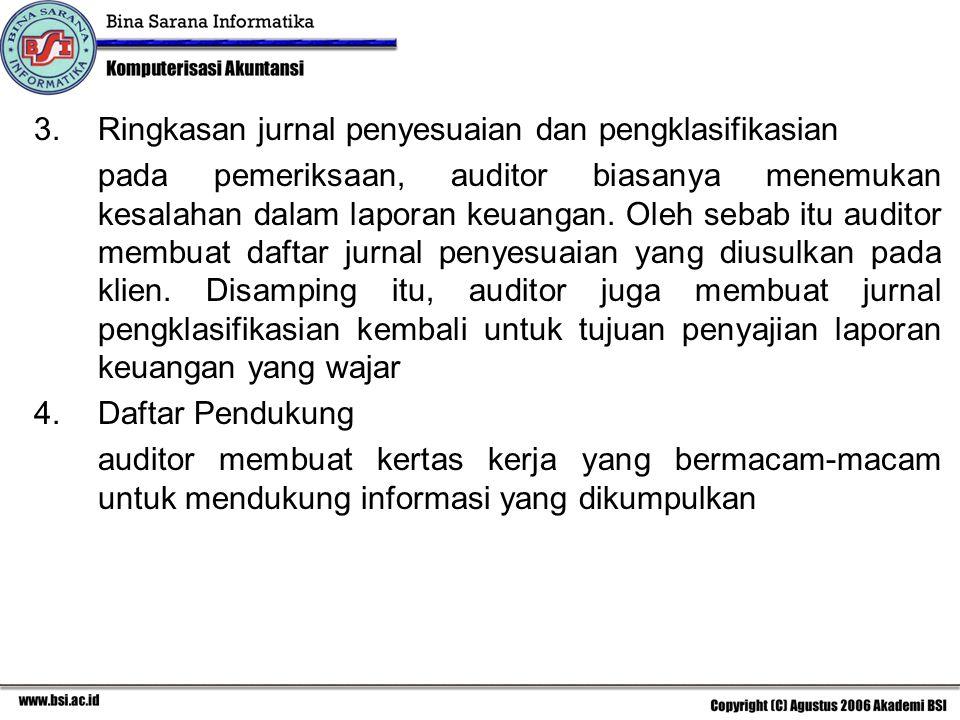 Ringkasan jurnal penyesuaian dan pengklasifikasian