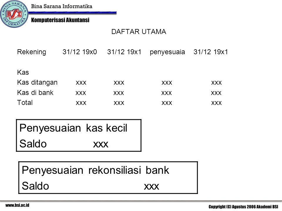 Penyesuaian rekonsiliasi bank Saldo xxx