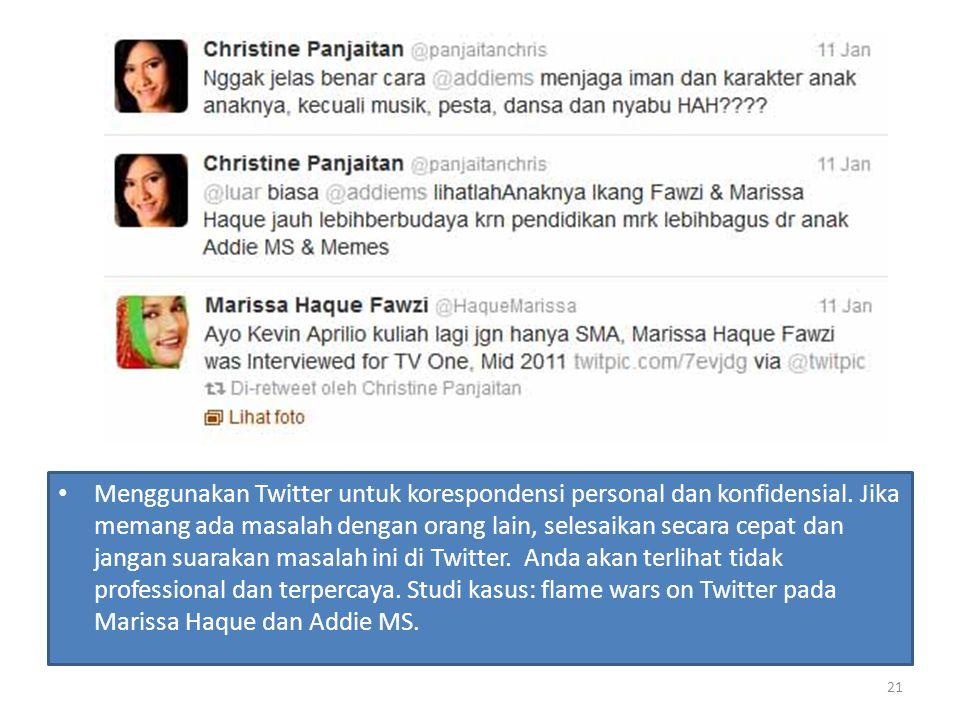 Menggunakan Twitter untuk korespondensi personal dan konfidensial