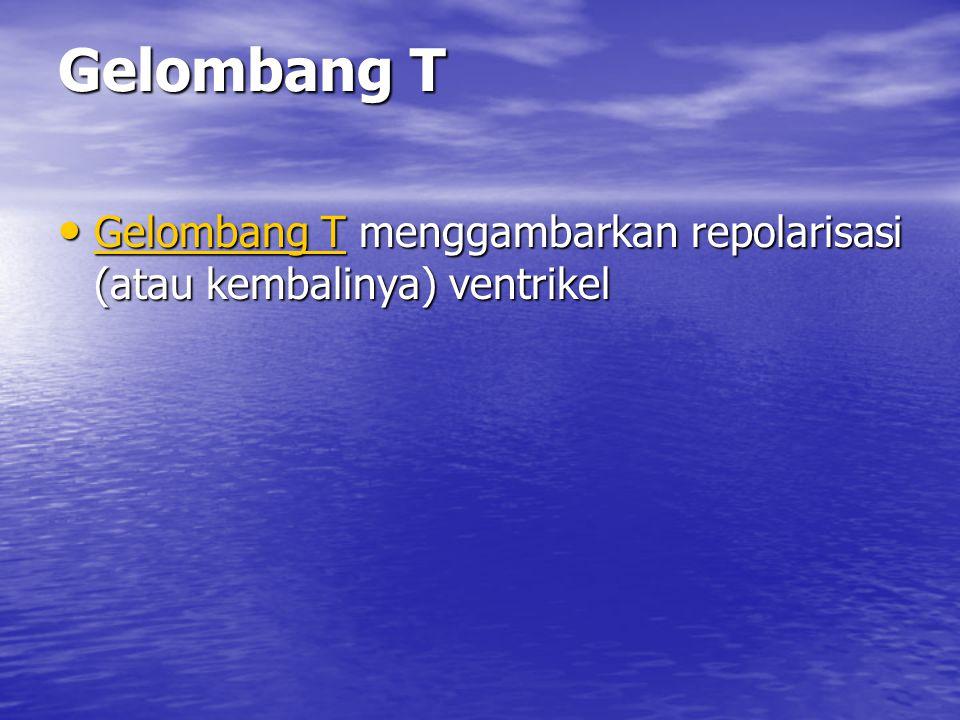 Gelombang T Gelombang T menggambarkan repolarisasi (atau kembalinya) ventrikel