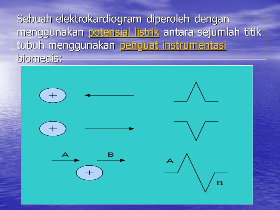 Sebuah elektrokardiogram diperoleh dengan menggunakan potensial listrik antara sejumlah titik tubuh menggunakan penguat instrumentasi biomedis: