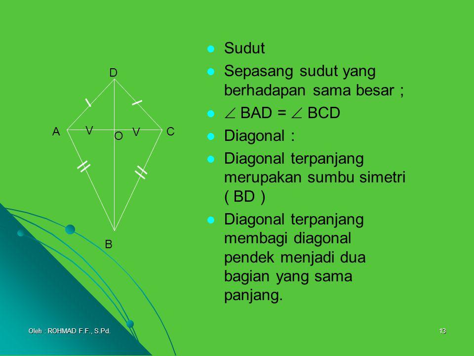 Sepasang sudut yang berhadapan sama besar ;  BAD =  BCD Diagonal :