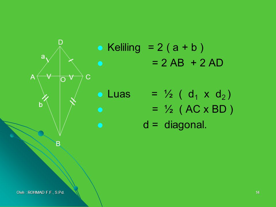 Keliling = 2 ( a + b ) = 2 AB + 2 AD Luas = ½ ( d1 x d2 )