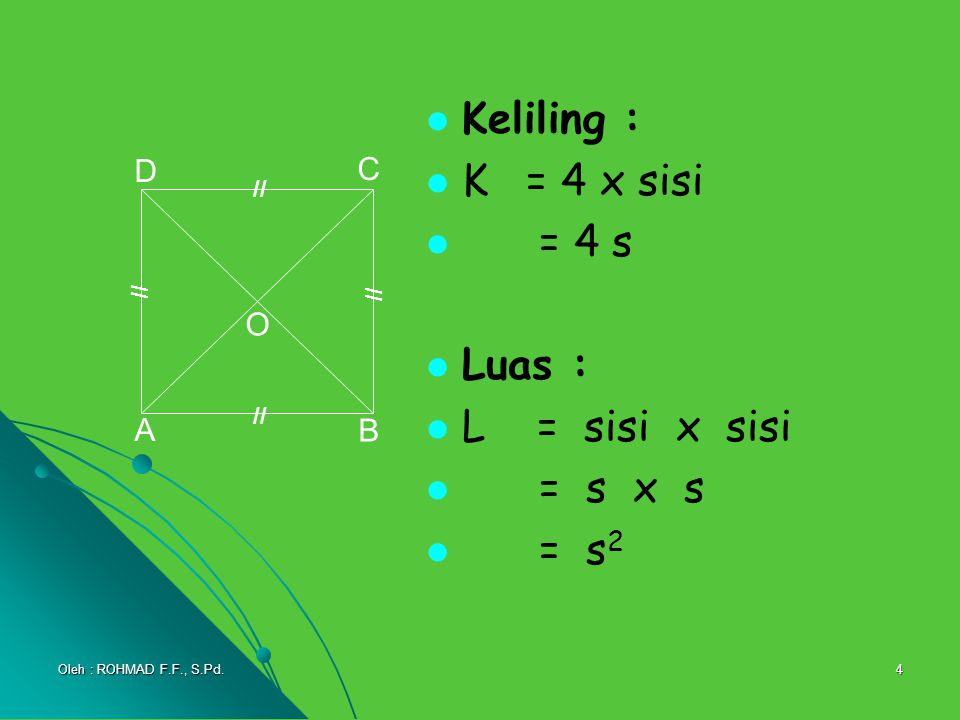 Keliling : K = 4 x sisi = 4 s Luas : L = sisi x sisi = s x s = s2 D C