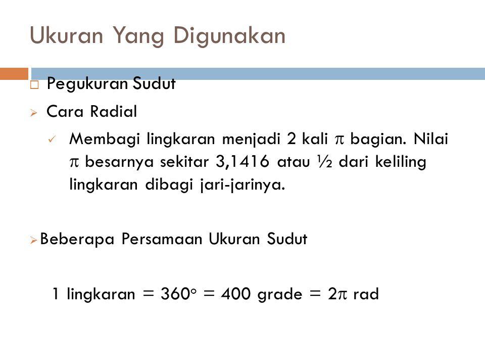 Ukuran Yang Digunakan Pegukuran Sudut Cara Radial