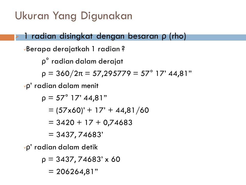 Ukuran Yang Digunakan 1 radian disingkat dengan besaran ρ (rho)