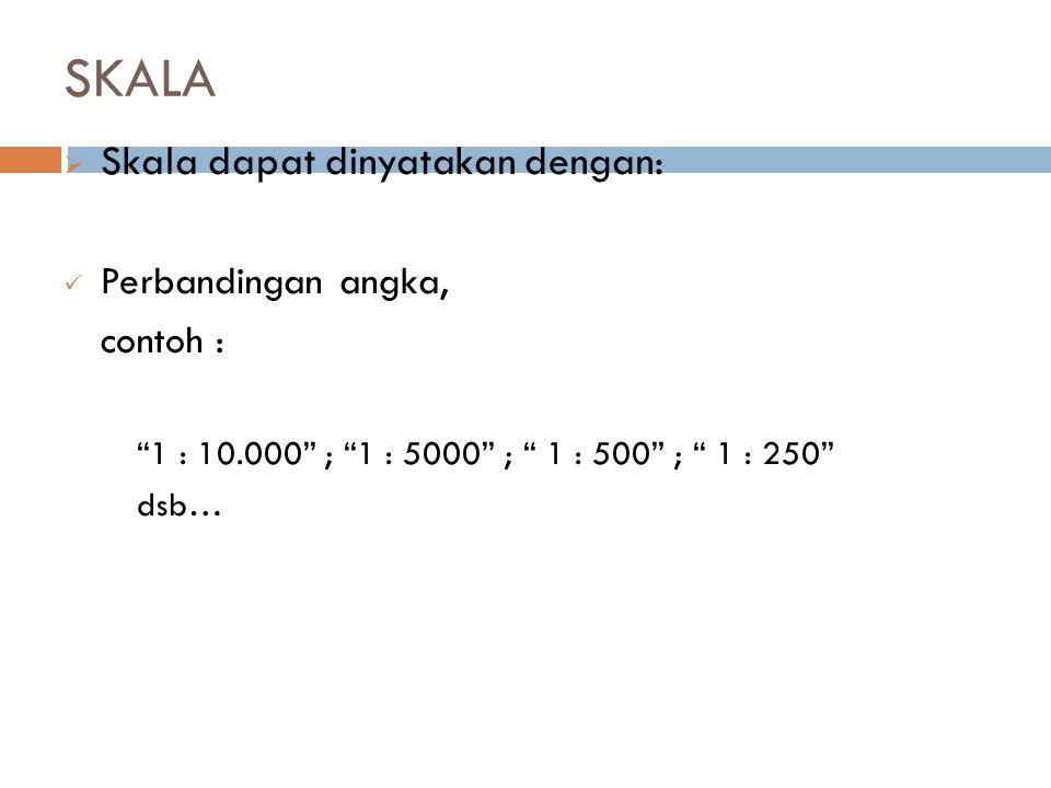 SKALA Skala dapat dinyatakan dengan: Perbandingan angka, contoh :