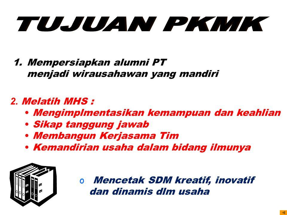 TUJUAN PKMK Mempersiapkan alumni PT menjadi wirausahawan yang mandiri