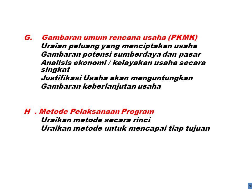 G. Gambaran umum rencana usaha (PKMK)