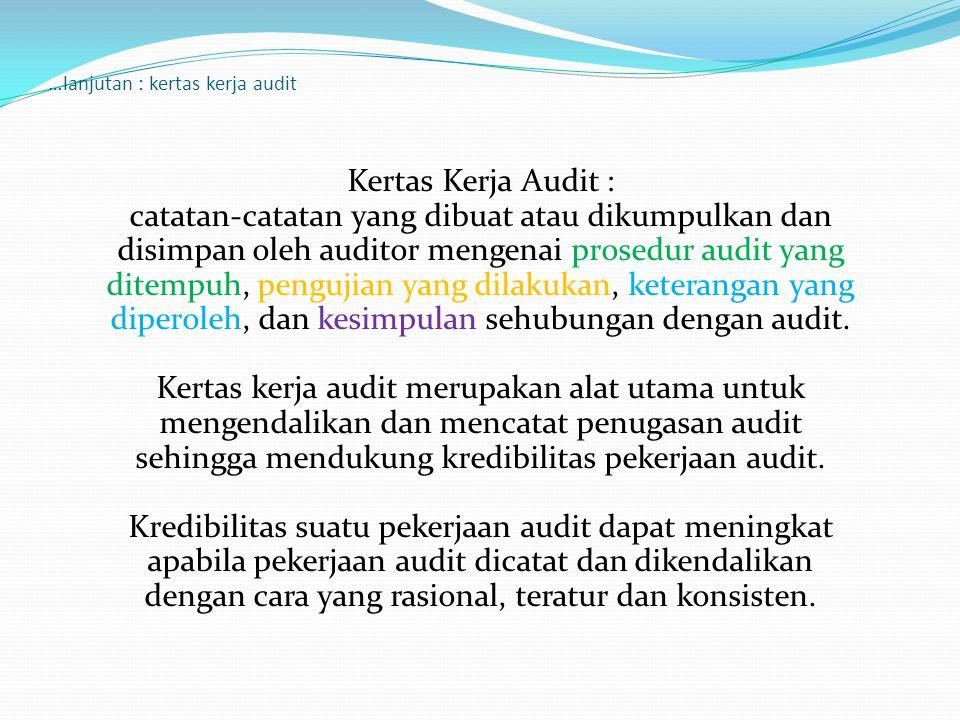 …lanjutan : kertas kerja audit