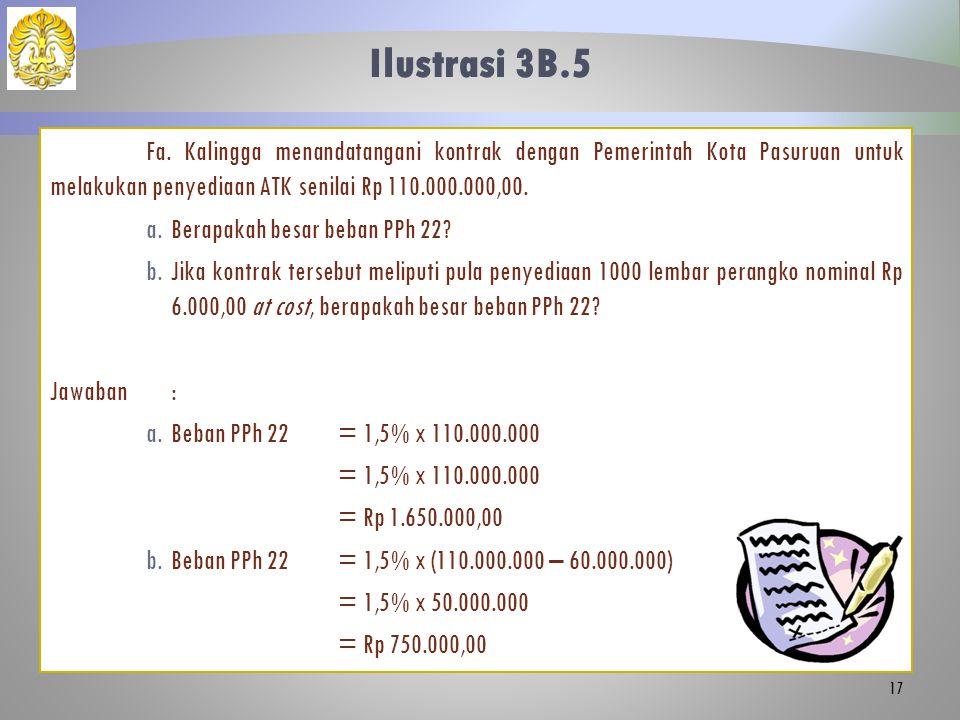 Ilustrasi 3B.5 Fa. Kalingga menandatangani kontrak dengan Pemerintah Kota Pasuruan untuk melakukan penyediaan ATK senilai Rp 110.000.000,00.